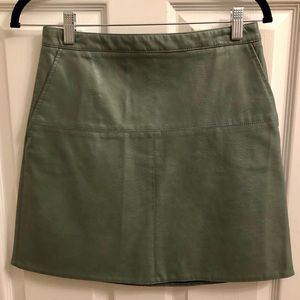 Zara Green Pleather Mini Skirt